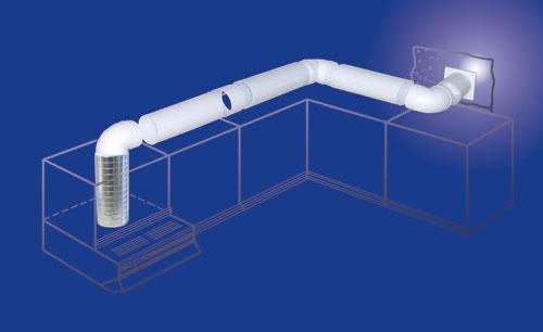 PVC Kanal Lüftungsrohr Kunststoff Rundrohr PVC Rohr 100mm // 1m